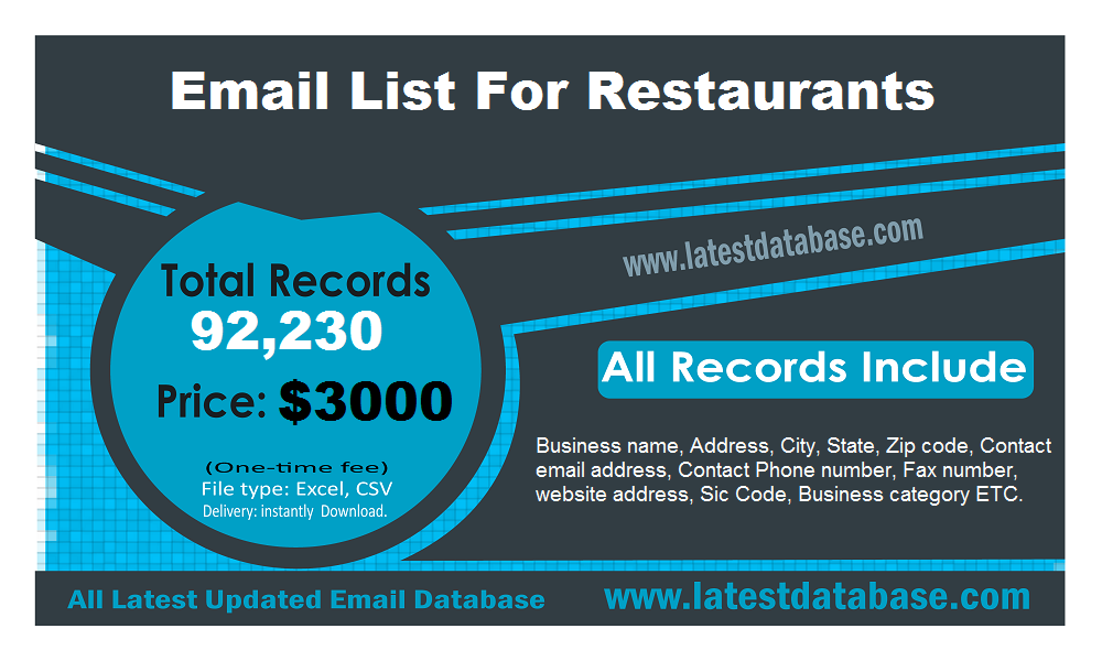 Restaurants Email List